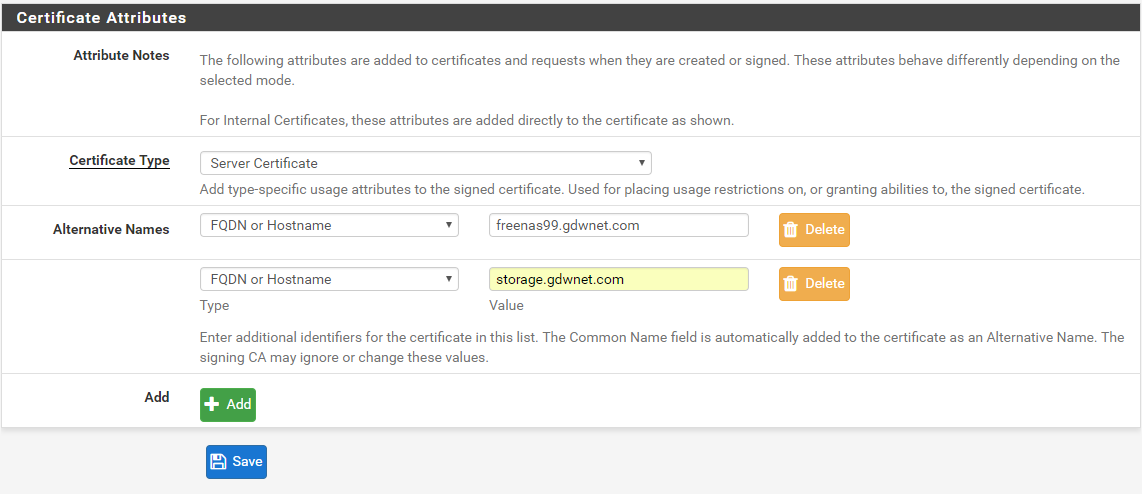 Creating a secure certificate – internal resources